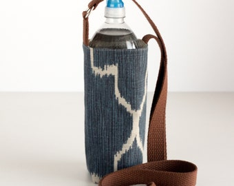 Blue Water Bottle Sling, Blue and Brown Water Bottle Holder, Crossbody, Blue, Brown, and Tan Cotton Fabrics, Handmade