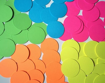 200 Neon Circle Confetti (1 inch), Mix-and-Match - You Choose Colors