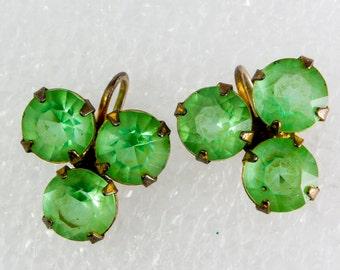 Vintage Emerald Green Crystal Shamrock Screwback Earrings