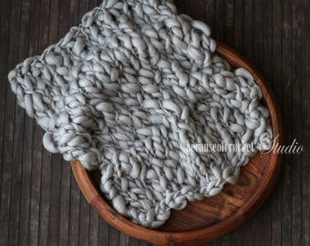 Bulky Newborn photo prop knitted layer. Handspun knitted Chunky baby prop blanket. 100% superfine australian merino wool. Ready to ship.