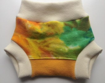 """0-6 months - Wool Diaper Cover - Hand dyed """"Spring Sunshine"""" Wool Interlock Diaper Soaker - Small"""