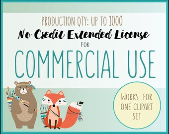 Extended License for Commercial Use of Any Clipart Set - Production Quantity of 1-1000, Extended Commercial Use of Clip Art