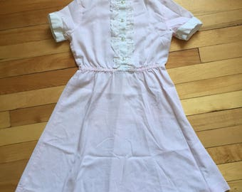 Vintage 1970s Girls Pink Stripe Lace Summer Dress! Size 6-7