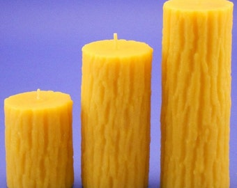 Beeswax Candles Set, 2.5 x 3 and 2.5 x 5 and 2.5 x 7 Tree Bark Candles, Organic Beeswax Candles, Oak Tree Candles, Beeswax Cappings Candles