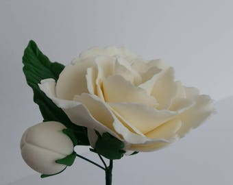 Sugar Flower White Rose with Leaf and Bud Cake Topper