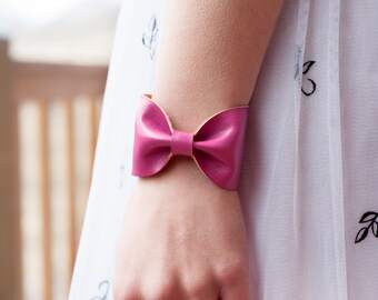 Pink Bow Bracelet, Pink Bracelet, Faux Vegan Leather Jewelry Wrist Cuff Doctor Who Bowtie Wrist Tattoo Cover Up Wrist Cover Mother Gift