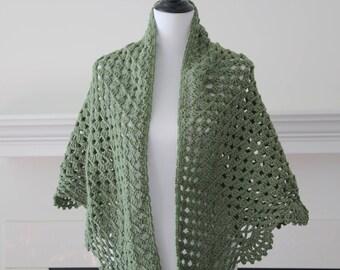 Crocheted Sage Green Triangle Scarf, Shawl