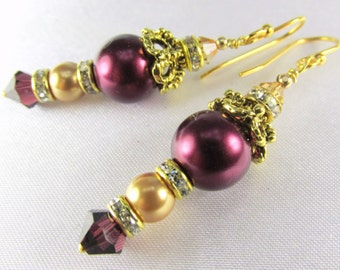 Bridal or Bridemaid Earrings in Blackberry Burgundy and Light Gold Swarovski Pearls, Crystals