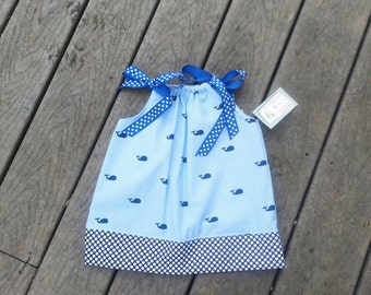 Pillowcase Dress - Whales - Girls Spring Dress - 1st Birthday Dress - Beach Dress - Nautical Clothing - Groovy Gurlz