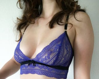 Blue Dream - lace longline bralette made to order