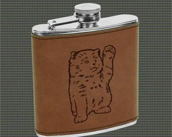 Leatherette Flask - Cat Designs