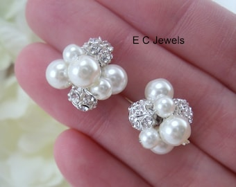 Set of 8 Pearl, Rhinestone Cluster Hairpins - Pick your Color
