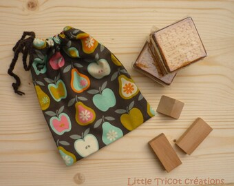 Bag snack or games (21.5 x 17 cm) pure cotton printed fruit