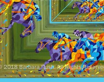 Derby Scarf, Horse Racing Scarf, Race Scarf, Colorful Horse Racing Scarf, Horse Scarf, Thoroughbred Horse Racing Scarf