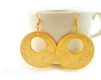 Large Gold Hoop Earrings, Ethnic Hoops, Large Gold Earrings, Gold Earrings, Statement Earrings, Tribal Earrings, Ethnic Earrings