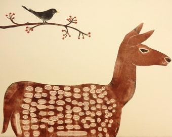 Deer Original Print, Blackbird, Rowan Tree, Limited Edition Art.