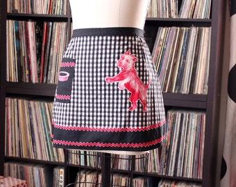 1950s vintage scottie dog apron . womens small half apron