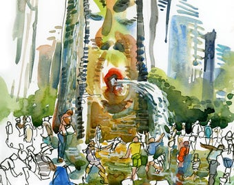 Chicago, Crown Fountain at Millenium Park, print of a watercolor sketch, fine art print