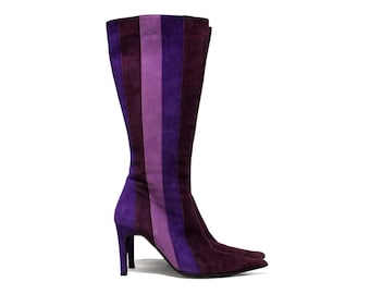 Dune knee high suede boots in shades of purple