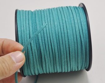 2.7mm mint turquoise Suede Leather Cord,100 yards(One Roll) Microfiber,Vegan Suede,DIY Cord Supplies,Flat Faux Suede Cord,Supplies -- 41#