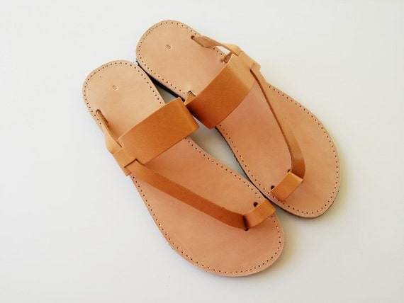 Women Toe Ring Sandals In Brown With Leather Stripe Handmade