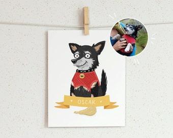 1 Pet Portrait - An illustrated custom portrait. Pet portrait, dog portrait, cat portrait, custom illustration, pet memorial