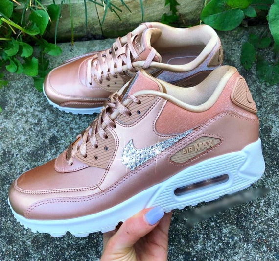 6d1c8c28f3f0 ... Women s 90 Edition Nike Max Diamond Limited Swarovski Air Bronze  Metallic Bling Sneakers Aq1Ygwtt ...