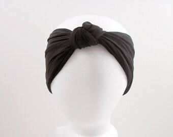 Custom Size Black Lycra Turban Head Wrap Womens Head Wrap Black Boho Head Wrap Turban Headband Woman's Turban Headband Workout Swim Headband