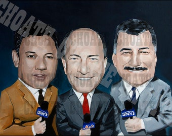 New York Mets Baseball Announcers, Ron Darling, Gary Cohen, and Keith Hernandez Art Photo Print