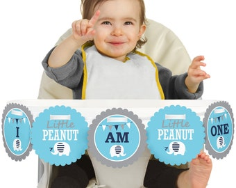 Blue Elephant - 1st Birthday - I Am One - First Birthday Boy High Chair Banner - First Birthday Party Decorations - Little Peanut -