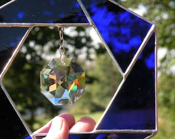 Cobalt Blue Stained Glass Sun Catcher with Crystal Rainbow maker