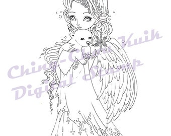 Polar Snow -Digital Digi Stamp Instant Download / Winter Snow Snowflake Angel Animal Polar Bear Fantasy Fairy Girl Art by Ching-Chou Kuik