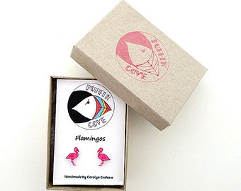 Flamingo Earrings, Bird Studs, Birds, Nature, Gift for Her, For Mum, Jewellery, Girls's Gift, Wildlife, Pink
