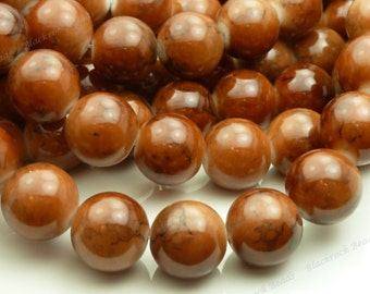 14mm Brown Mottled Glass Beads - Large Round Beads, Opaque - 14pcs - BN11