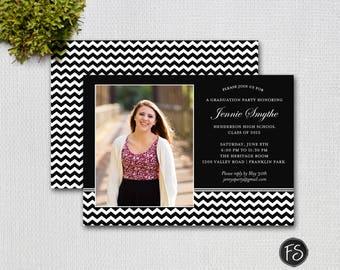 Graduation Invitation Photo Invitation, Black and White Chevron Graduation Photo Announcement / PRINTABLE INVITATION / #5260