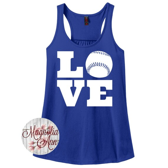 Love Baseball, Sports, Baseball, Women's Racerback Tank Top in 9 Colors in Sizes Small-4X, Plus Size