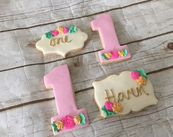 Personalized Floral 1st Birthday Decorated Cookies