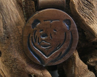 Mens - bear pendant - imitation leather - polymer clay pendant necklace