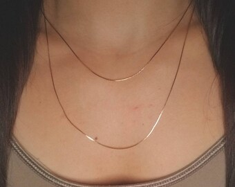 Multi layer 14k gold plated ultra thin chain