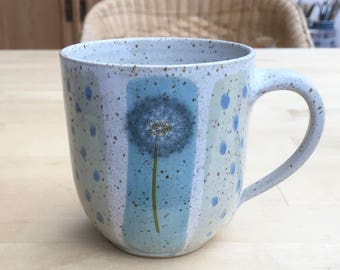 Coffee mug Hand pottery-puff flowers