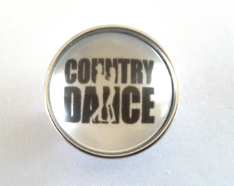 glass cabochon 18mm snap button country dance