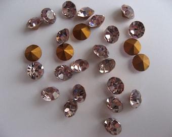 Rhinestone, round diamond cut, light amethyst, SS 35 (x 48)