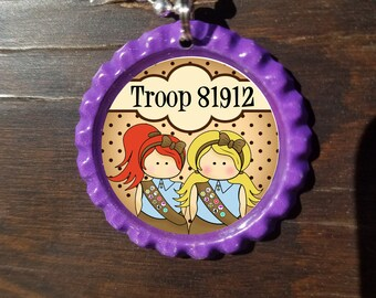 Brownie Girl Scouts Personalized ANY NAME bottle cap necklace - * Free Chain*