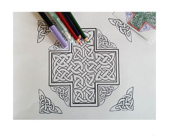 Celtic Cross Coloring Page Pattern DIY Print at home Digital Download, Adult Coloring, Patterns