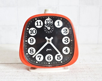 Vintage French JAPY Mechanical Alarm Clock Red    70's Retro/ Mid Century - Bright Color Pop Clock