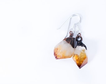Raw crystal earrings | Citrine crystal earrings | Citrine earrings | Rough Citrine crystal earrings | Raw gemstone jewelry