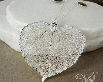 Silver Aspen Leaf Pendant Necklace – Grey Chalcedony, Smokey Quartz, Pink/Lavender Chalcedony