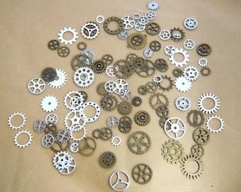 100 Gears cogs steampunk bronze and silver watch gears mechanism lot