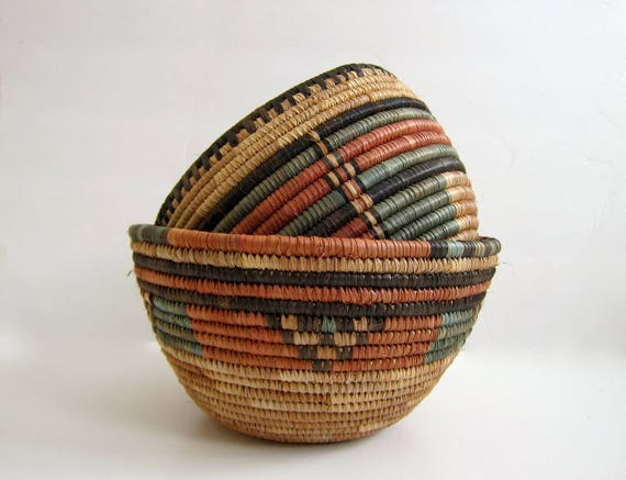 Handwoven Woven NIGERIAN Bowl Decorative Natural Woven Wall Basket Coil Basketweave Deep Fruit Bowl Modern Earthy Home Decor Bohemian Chic