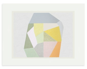 Screenprint, Large geometric print, original screenprint, hand drawn, abstract art, multi-coloured art by Emma Lawrenson